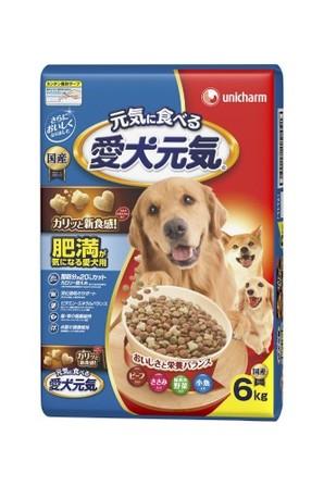 [ユニチャーム] 愛犬元気 肥満が気になる愛犬用 ビーフ・ささみ・緑黄色野菜・小魚入り 6.0kg