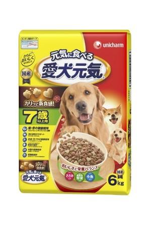[ユニチャーム] 愛犬元気 7歳以上用 ささみ・緑黄色野菜・小魚入り 6.0kg