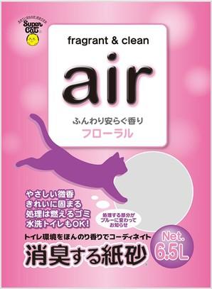 [スーパーキャット] air 消臭する紙砂 フローラル 6.5L