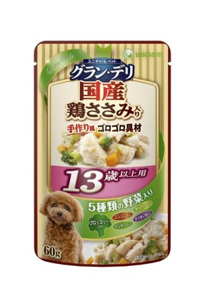 [ユニチャーム] 愛犬元気グラン・デリパウチ 13歳以上用 鶏ささみ・ブロッコリー入り 60g