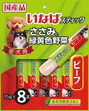 [いなばペットフード] スティック 愛犬用 ささみと緑黄色野菜 ビーフ 15g×8本