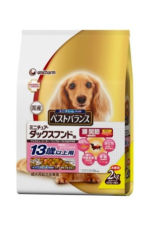 [ユニチャーム] 愛犬元気ベストバランス ミニチュア・ダックスフンド用 13歳以上用 チキン・野菜・小魚・玄米入り2kg
