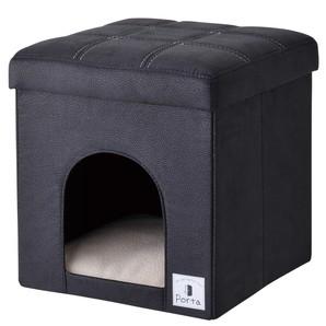 [ペティオ] Portaドッグハウス&スツール ブラック レギュラー