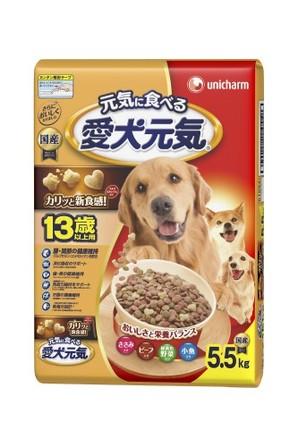 [ユニチャーム] 愛犬元気 13歳以上用 ささみ・ビ-フ・緑黄色野菜・小魚入り 5.5kg